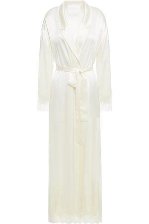 Carolina Herrera Women Bathrobes - Woman Lace-trimmed Silk-satin Robe Ivory Size L