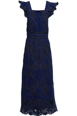 VALENTINO Women Maxi Dresses - Woman Open-back Crochet-trimmed Denim Maxi Dress Dark Denim Size 40