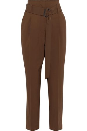 Brunello Cucinelli Women Trousers - Woman Cropped Belted Wool-blend Tapered Pants Chocolate Size 36
