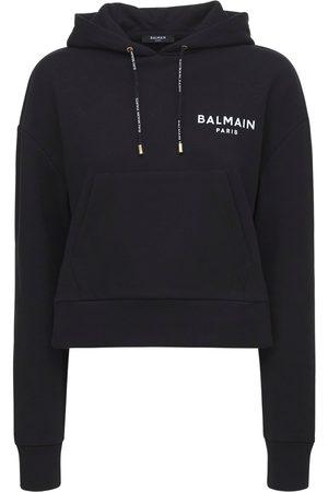 Balmain Women Sweatshirts - Cropped Cotton Hoodie W/ Flocked Logo
