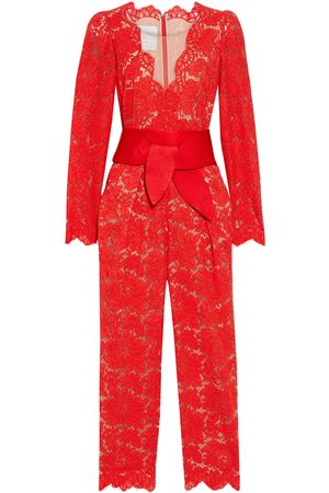 Stella McCartney Women Jumpsuits - Woman Pearl Cropped Belted Cotton-blend Corded Lace Jumpsuit Tomato Size 38