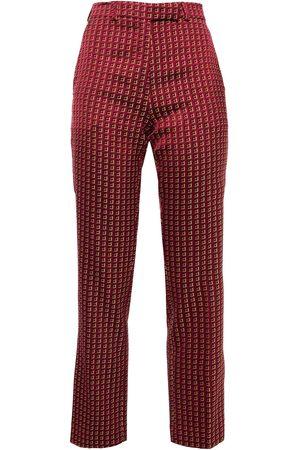Etro Women Skinny Trousers - Woman Satin-jacquard Slim-leg Pants Magenta Size 38