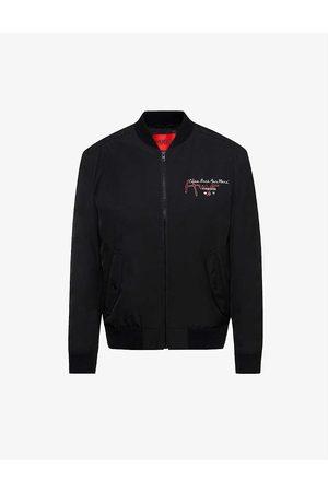 HUGO BOSS Men Bomber Jackets - Snake-and-logo-print recycled polyester-blend bomber jacket