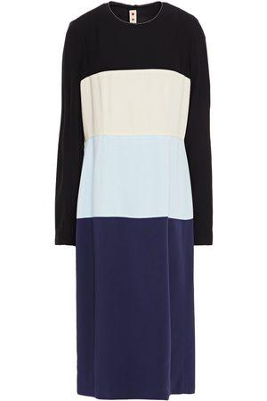 Marni Women Midi Dresses - Woman Color-block Crepe Midi Dress Midnight Size 36