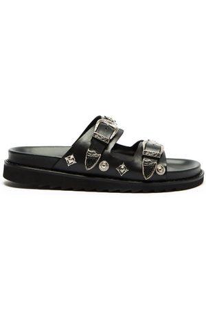 TOGA VIRILIS Men Sandals - Metal-plaque Two-strap Leather Sandals - Mens