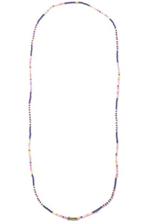 Luis Morais Palm Tree Glass Beads & 14kt Gold Necklace - Mens - Navy Multi