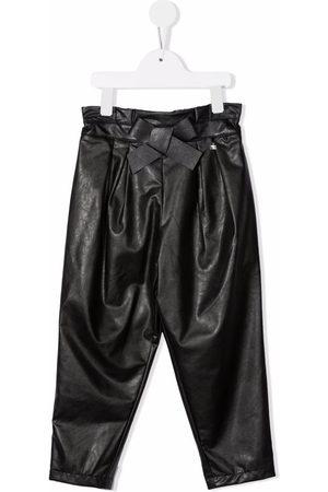 Elisabetta Franchi La Mia Bambina Vegan leather paperbag-waist trousers