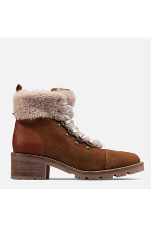 Clarks Women Heeled Boots - Women's Roseleigh Sky Suede Heeled Hiking Style Boots