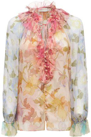 ZIMMERMANN Printed Silk Chiffon Shirt W/ruffles