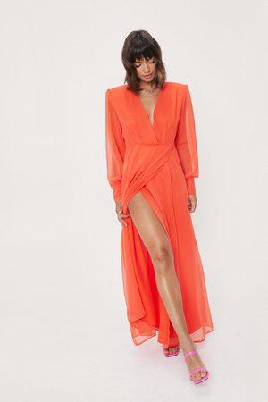 NASTY GAL Women Maxi Dresses - Womens Sheer Sleeve Maxi Slit Wrap Dress