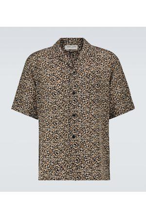 Saint Laurent Short-sleeved leopard-print silk shirt