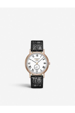 Longines Men Watches - L48051112 Presence rose-gold PVD and alligator-embossed leather watch