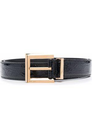VERSACE Men Belts - Crocodile-embossed square-buckle belt