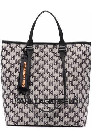 Karl Lagerfeld Jacquard-monogram tote bag - Neutrals