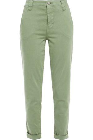 J Brand Women Skinny Trousers - Woman Cotton-blend Sateen Slim-leg Pants Sage Size 24