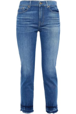 7 for all Mankind Women Slim - Woman Cropped Faded Mid-rise Slim-leg Jeans Mid Denim Size 23