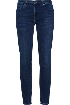 7 for all Mankind Women Slim - Woman Pyper Faded Low-rise Slim-leg Jeans Dark Denim Size 23