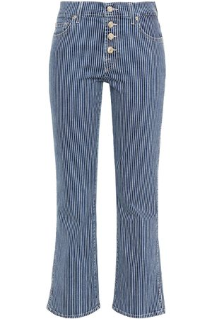 7 for all Mankind Women Bootcut - Woman Striped Mid-rise Kick-flare Jeans Mid Denim Size 24