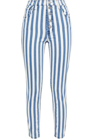 J Brand Woman Cropped Striped High-rise Skinny Jeans Size 23