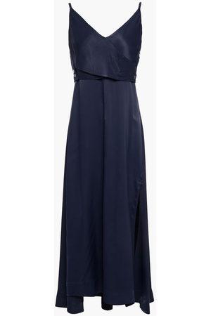 3.1 Phillip Lim Women Midi Dresses - Woman Wrap-effect Button-embellished Satin Midi Dress Navy Size 0