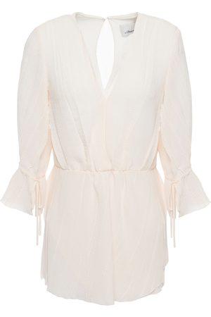 3.1 Phillip Lim Women Blouses - Woman Tie-detailed Crepon Blouse Blush Size 0