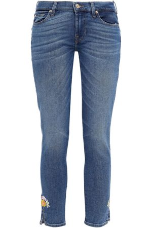 7 for all Mankind Women Skinny - Woman The Skinny Crop Distressed Mid-rise Skinny Jeans Mid Denim Size 24