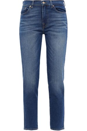7 for all Mankind Women Slim - Woman Roxanne Ankle Cropped Faded Slim-leg Jeans Mid Denim Size 23
