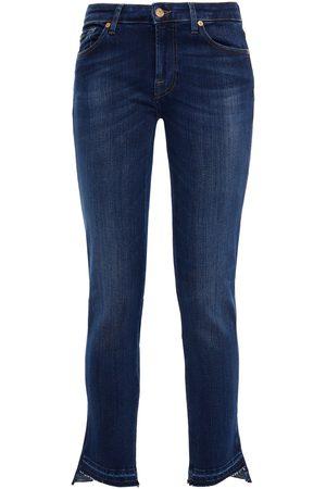 7 for all Mankind Women Slim - Woman Mid-rise Slim-leg Jeans Dark Denim Size 27