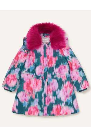 Monsoon Girls Coats - Teal (TEAL) Blurred Floral Padded Coat Teal, Print, in Size: 9-10 Years