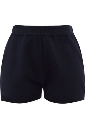 Allude High-rise Wool-blend Shorts - Womens - Navy