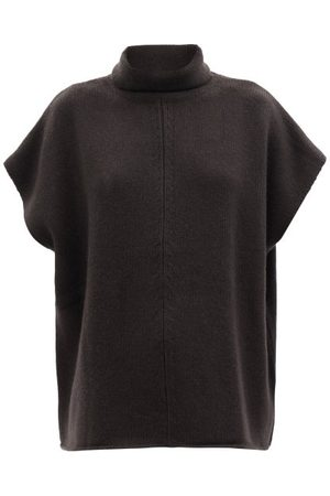 Allude Roll-neck Short-sleeved Wool-blend Sweater - Womens