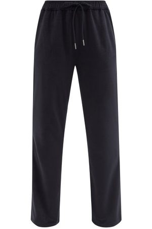 Moncler Slim-leg Cotton-blend Velour Track Pants - Womens - Navy