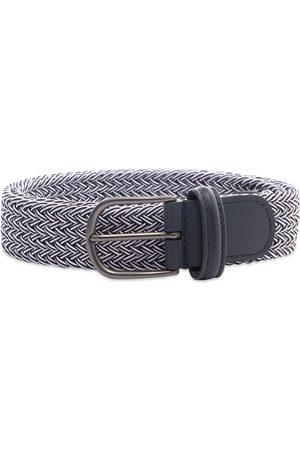 Anderson's Men Belts - Andersons B0667 Woven Textile Belt Navy / White
