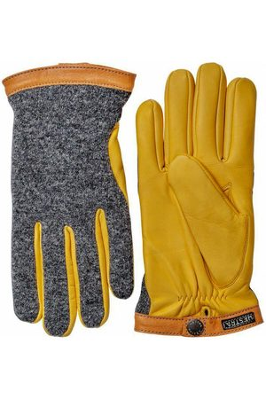 Hestra Deerskin Wool Tricot Gloves Charcoal / Natural Yellow