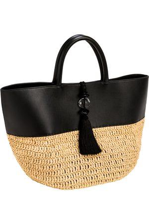 Serena Uziyel Almeria Black & Natural Large Round Tote Bag