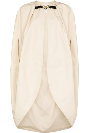 Jil Sander Buckled-clasp cocoon cape - Neutrals