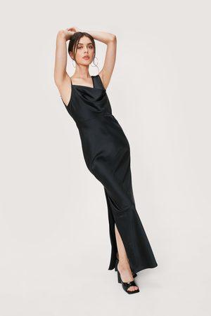 NASTY GAL Womens One Shoulder Cowl Neck Satin Maxi Dress