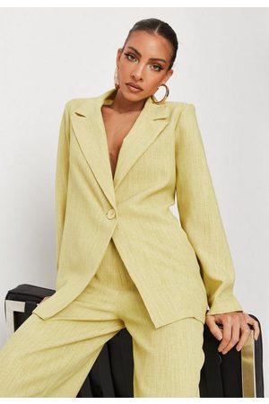 Missguided Lemon Linen Look Oversized Blazer