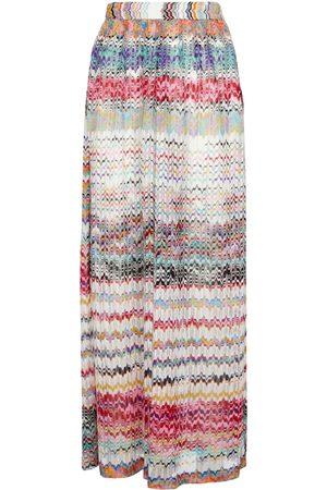 Missoni Women Wide Leg Trousers - Zig-zag knit wide-leg pants
