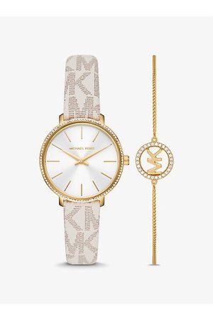 Michael Kors MK Pyper Logo and Gold-Tone Watch and Bracelet Set - Vanilla