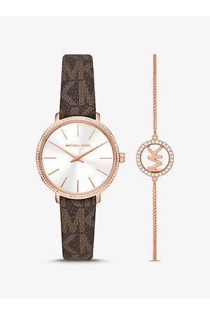 Michael Kors MK Pyper Logo and Rose Gold-Tone Watch and Bracelet Set