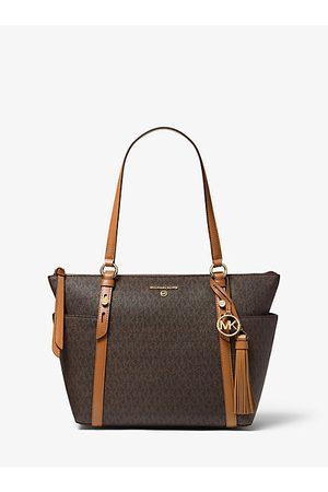 MICHAEL Michael Kors MK Sullivan Medium Logo Top-Zip Tote Bag - Brn/acorn - Michael Kors