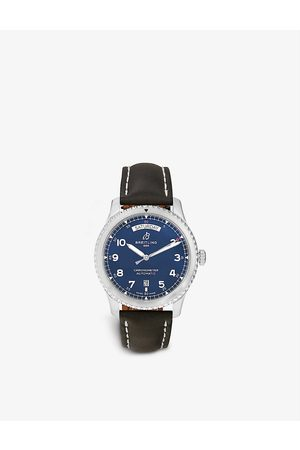 Bucherer Certified PRE Owned Pre-loved A45330101C1X1 Breitling Navitimer 8 stainless-steel and leather automatic watch
