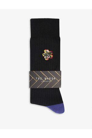 Ted Baker Men Socks - Boelow floral-embroidered cotton-blend socks