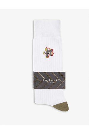 Ted Baker Boelow floral-embroidered cotton-blend socks