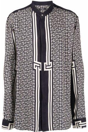 Balmain Monogram-pattern long-sleeve shirt - Neutrals