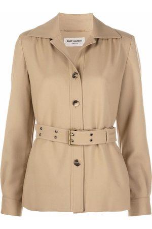 Saint Laurent Belted wool shirt jacket - Neutrals