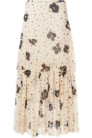 SEE BY CHLOÉ See By Chloé Woman Tiered Printed Silk-chiffon Maxi Skirt Neutral Size 34