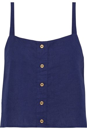 ONIA Women Tank Tops - Woman Bree Cropped Button-embellished Linen Top Navy Size L