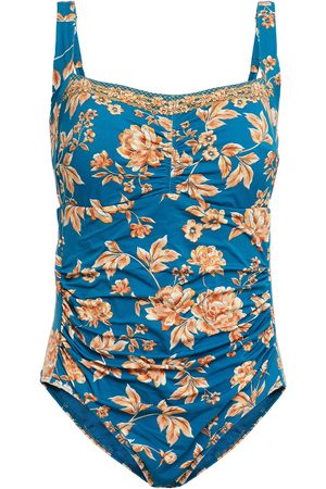 JETS AUSTRALIA BY JESSIKA ALLEN Woman Ruched Floral-print Swimsuit Teal Size 16